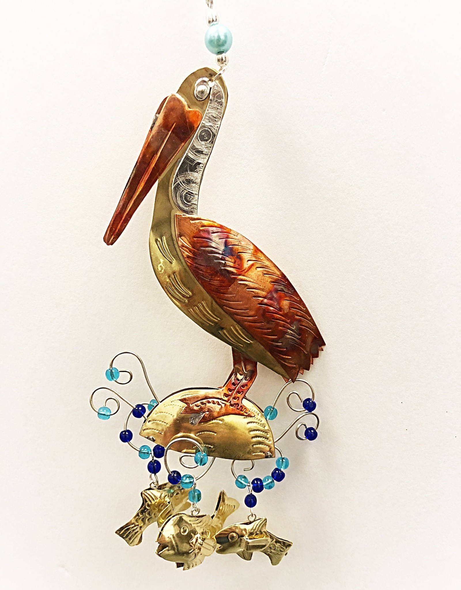 Metal Art Ornament - Pelican on the Beach