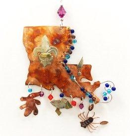 Metal Art Ornament - Louisiana