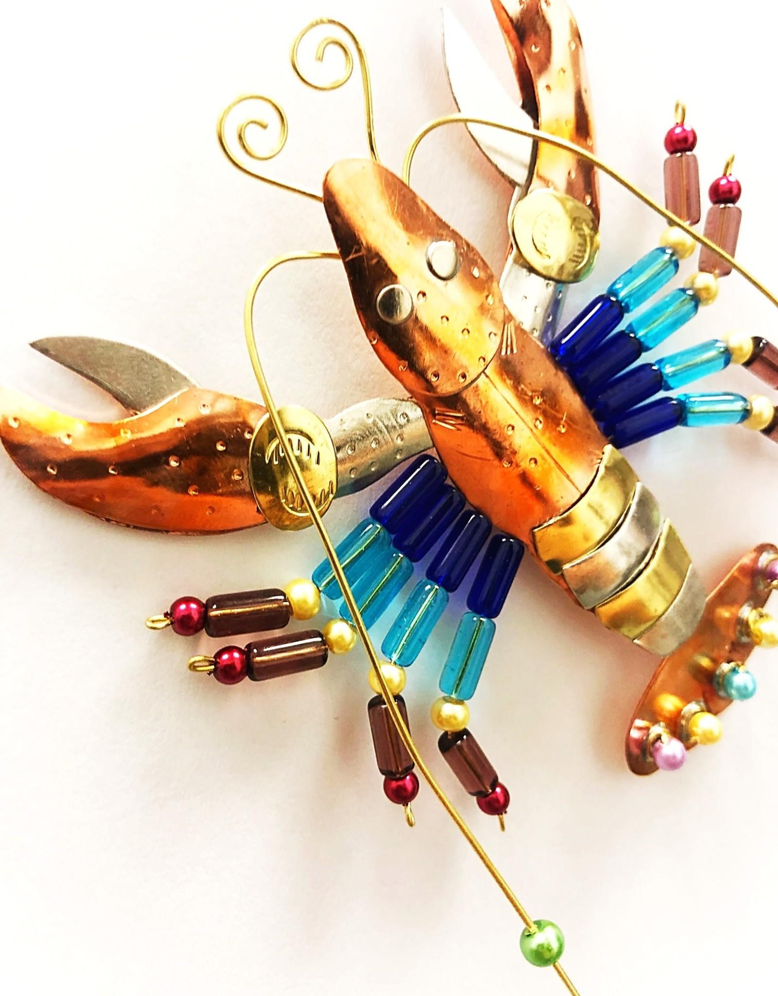 Metal Art Ornament - Rainbow Crawfish