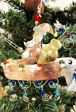 Metal Art Ornament - Fishing Boat Santa
