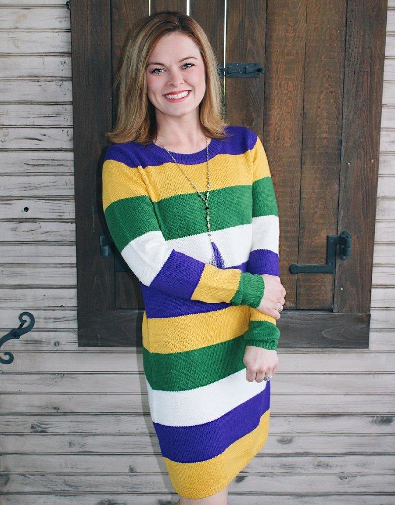 Mardi Gras Sweater Dress