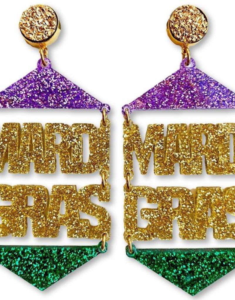 Mardi Gras Earrings - Gold Druzy