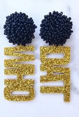 """Gold Glitter """"Who Dat"""" Earrings w/ Black Beaded Top"""