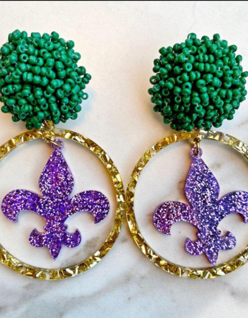 Mardi Gras Earrings - Gold Glitter Hoop - Purple Fleur de Lis