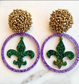 Mardi Gras Earrings - Purple Acrylic Hoop - Green Fleur de Lis
