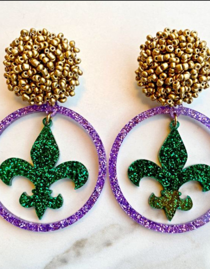 Mardi Gras Earrings - Purple Acrylic Hoop - Green Fleur de Lis