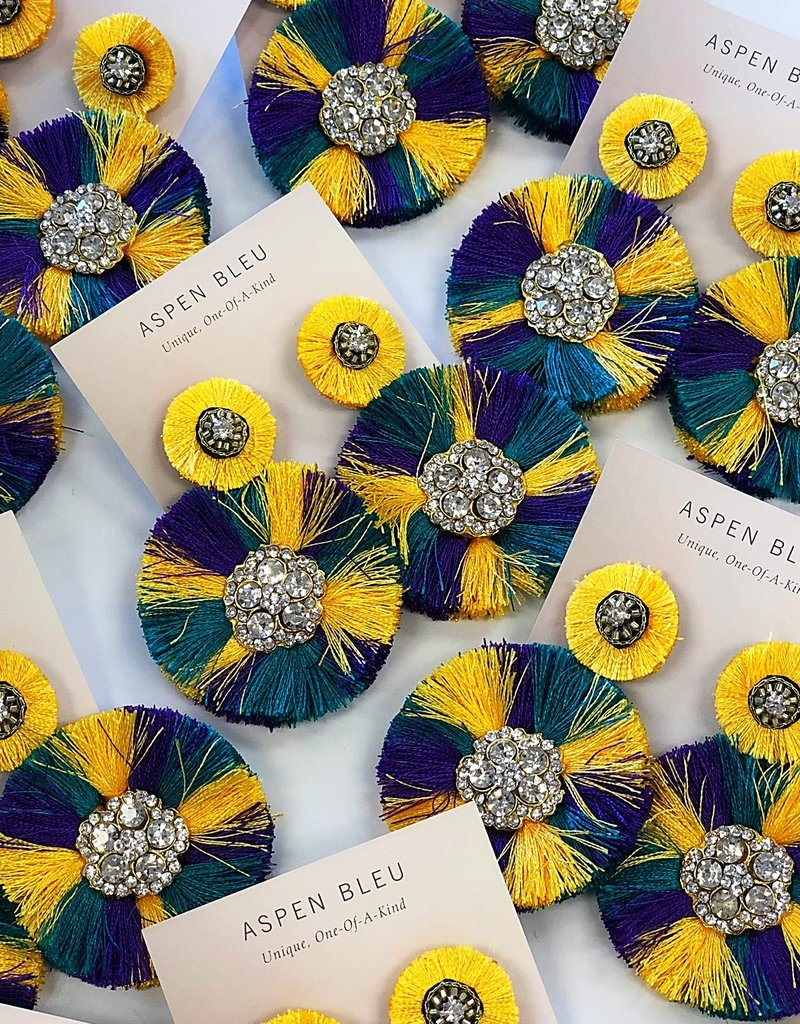 Mardi Gras Fan Earrings