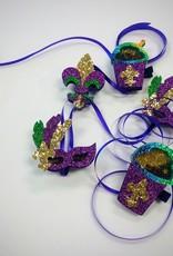Snowball Glitter Shaker Hair Clip - Mardi Gras