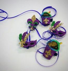 Fleur De Lis Glitter Shaker Hair Clip - Mardi Gras