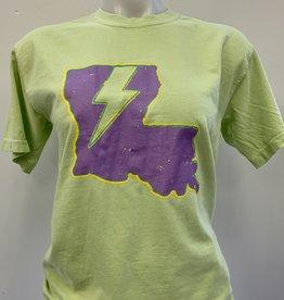 Louisiana Lightning Mardi Gras T-Shirt - Electric Green