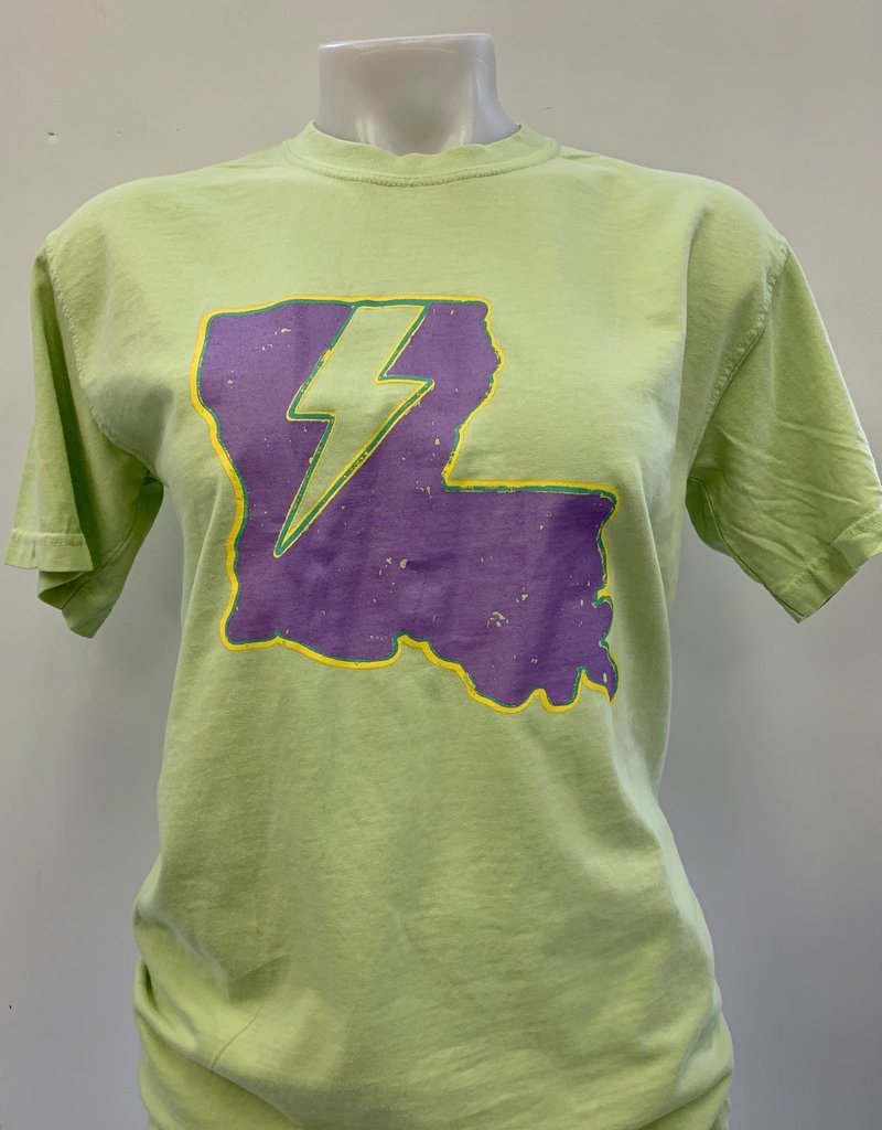 Louisiana Lightning Mardi Gras T-Shirt - Electric Green