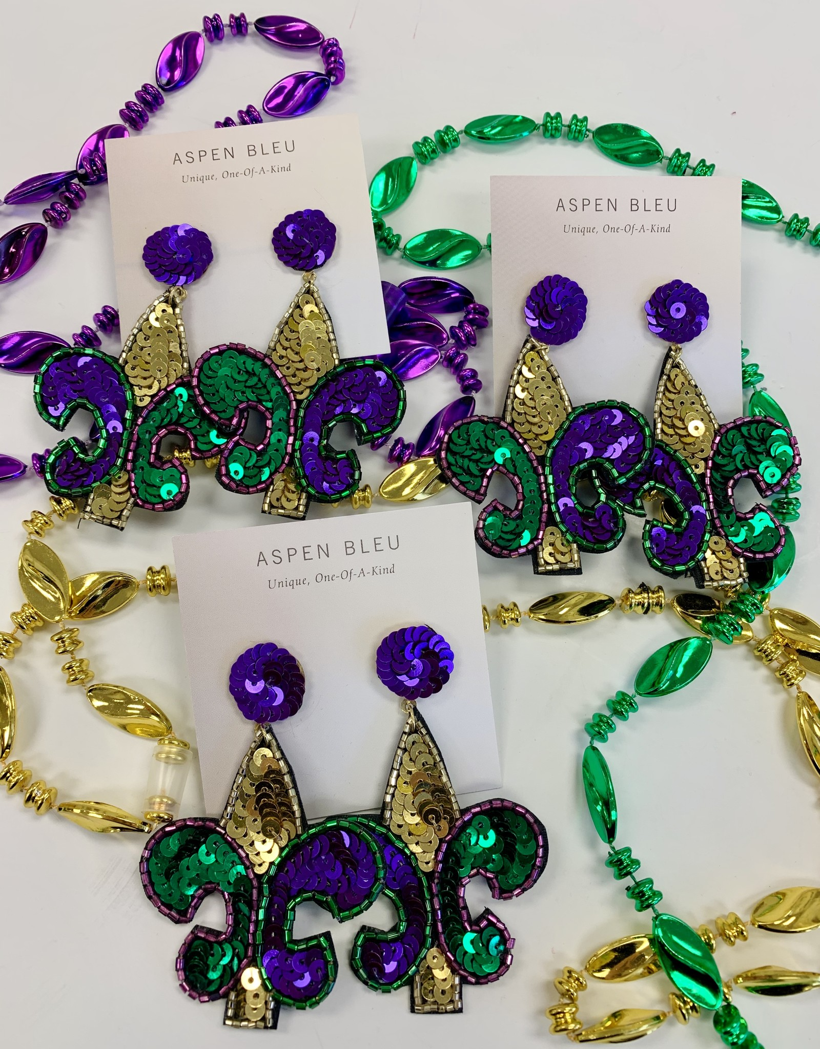 Mardi Gras Sequin Fleur De Lis Earrings