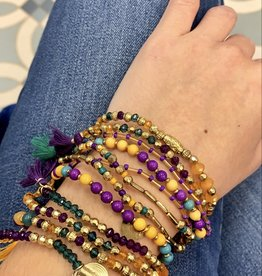 Mardi Gras Beaded Bracelets - Set of 6
