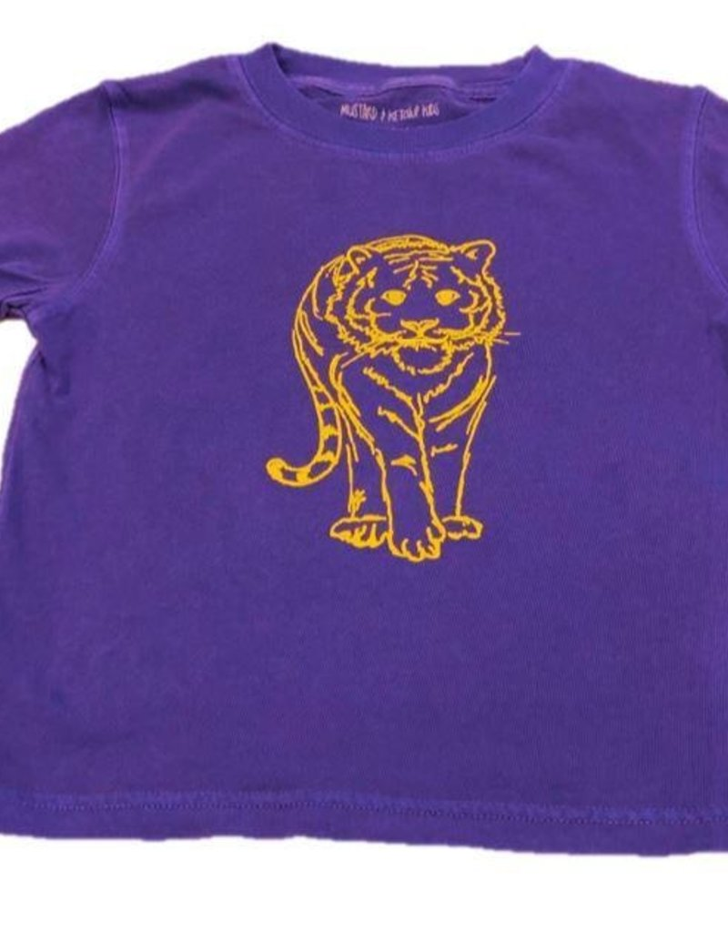 Gold Outline Tiger T-Shirt - Purple