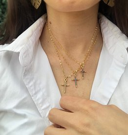 Gold Necklace with Cross -- Grey