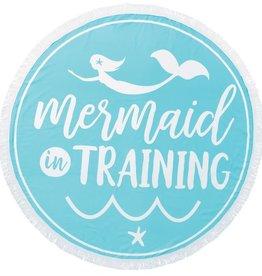 Blue Mermaid In Training Round Beach Towel