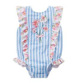 Striped Rosebud Swimsuit
