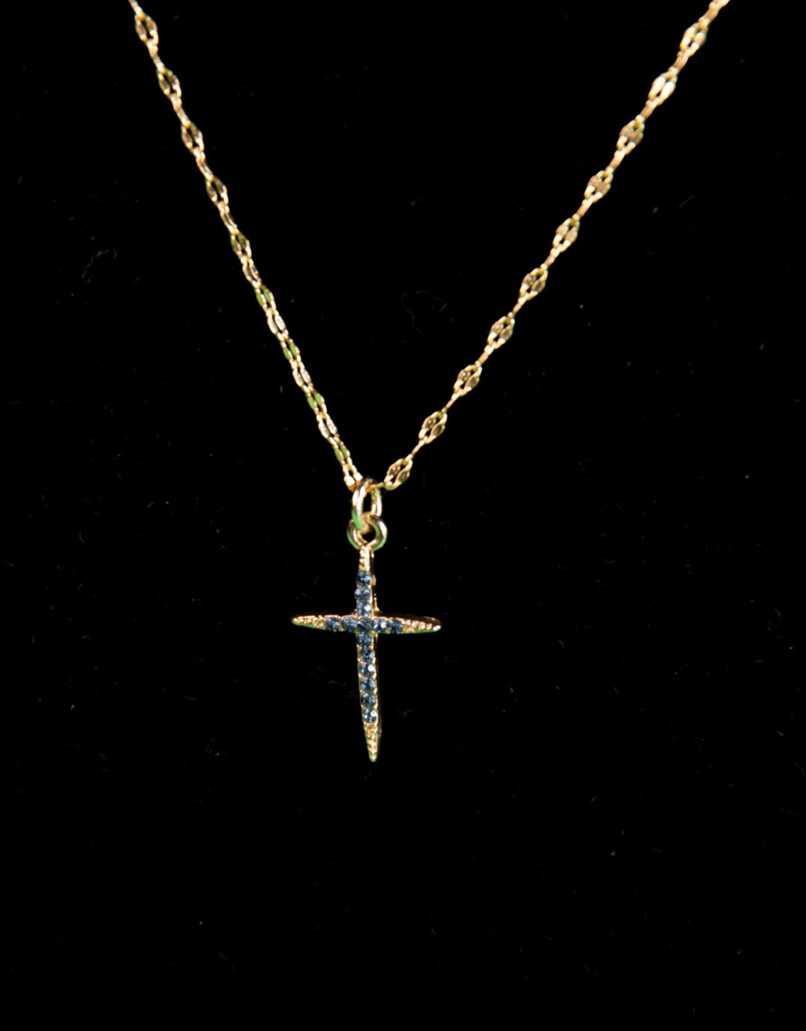 Gold Necklace with Cross -- Navy