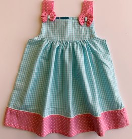 Turquoise Polka Dot Bow Dress