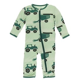Ruffle Coverall - Pistachio Tractors and Wheat
