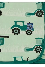 Swaddling Blanket - Pistachio Tractors and Wheat