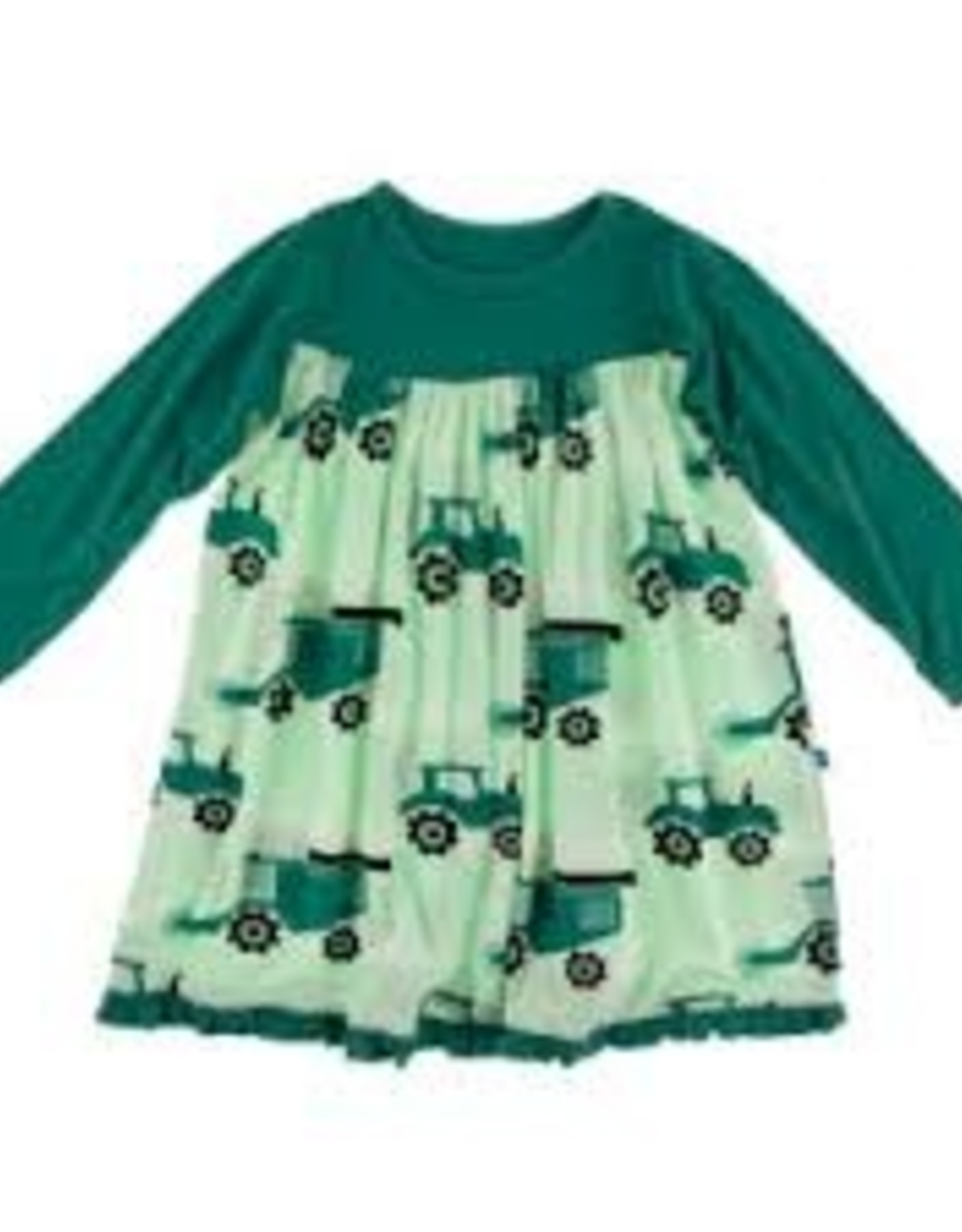 Long Sleeve Swing Dress - Pistachio Tractor