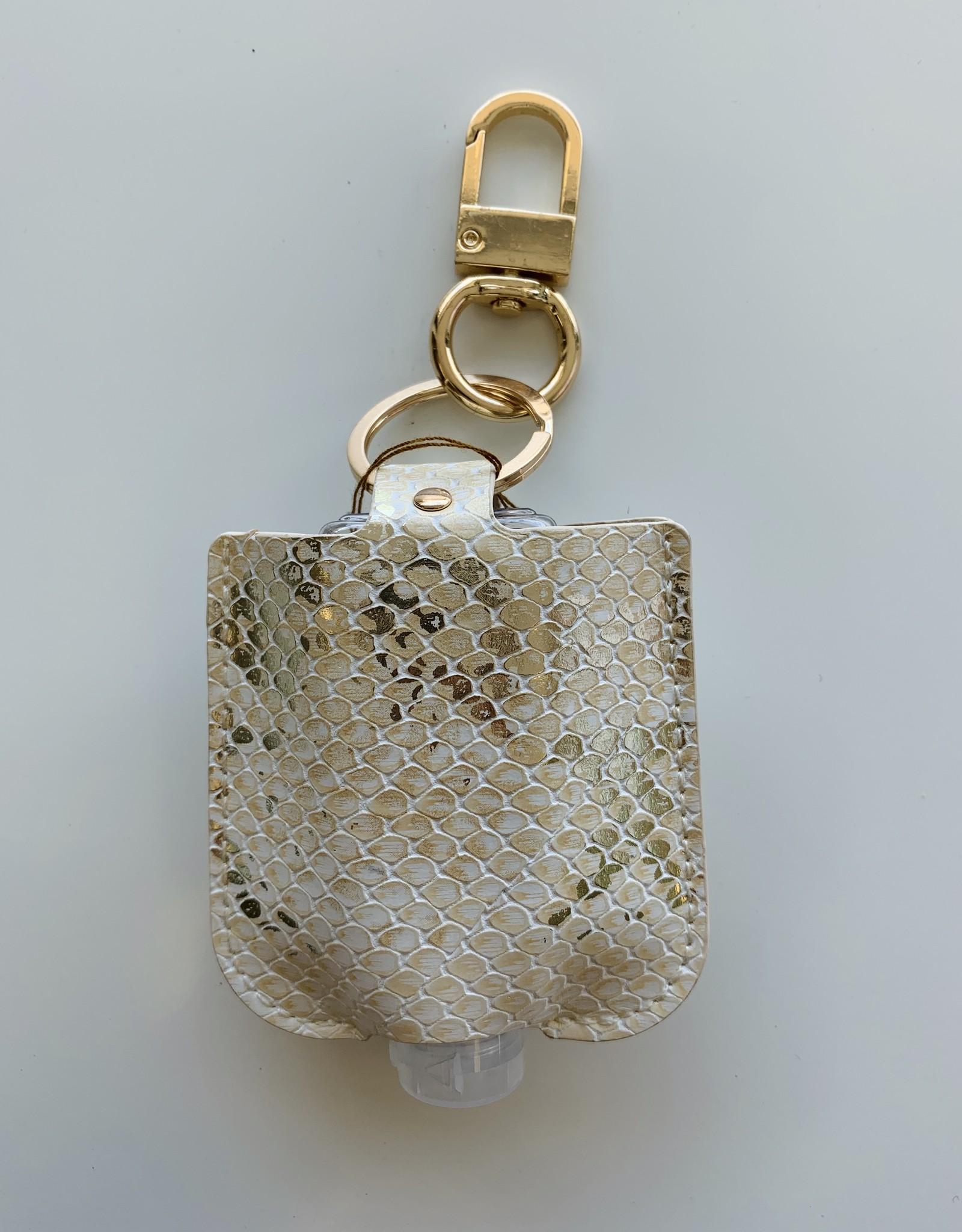 Keychain Sanitizer - Champagne/White Snakeskin