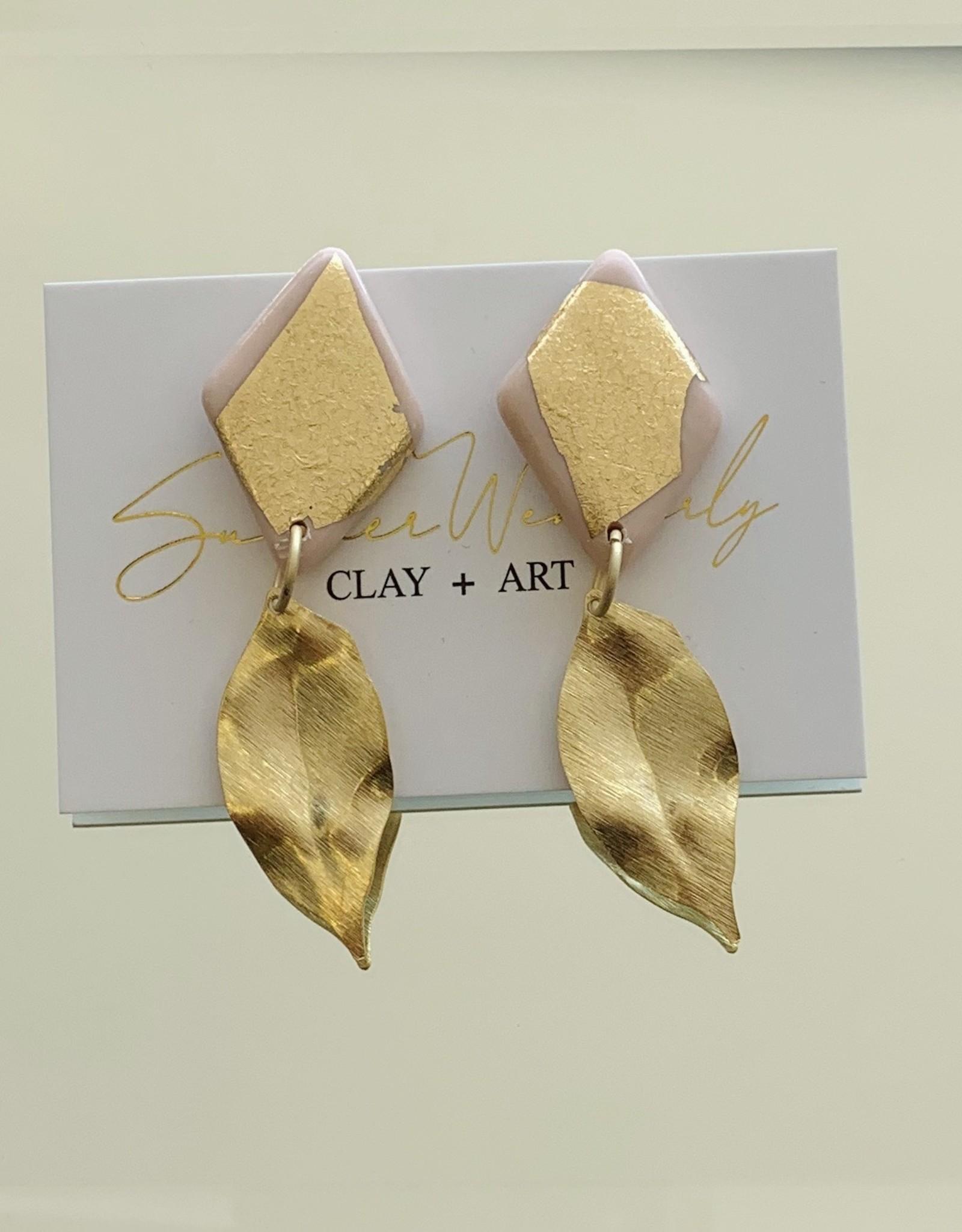 Leaf Earrings - Blush