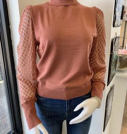 Puff Sleeve Turtle Neck - Terra Cotta