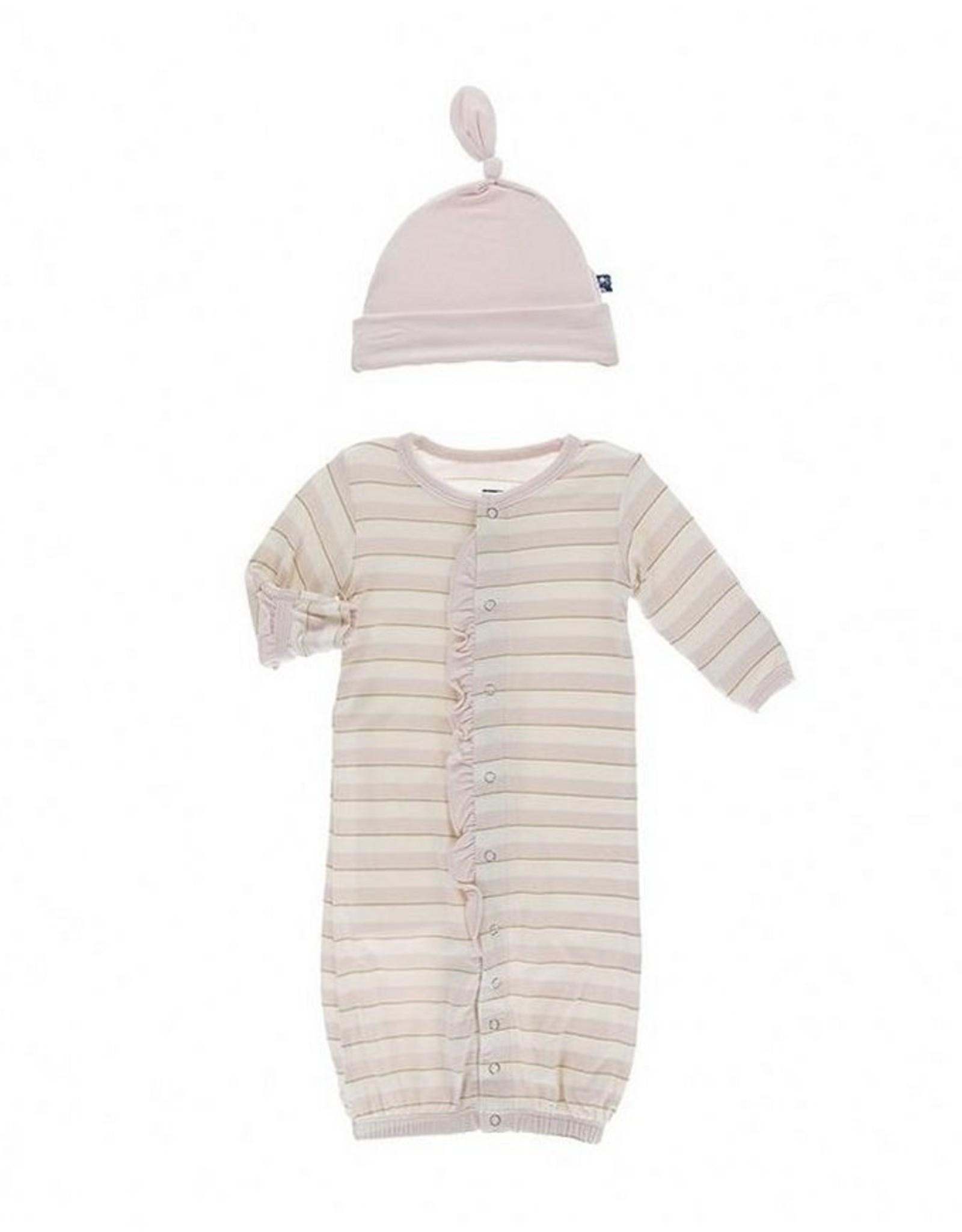 Kic Kee Pants Ruffle Gown &  Knot Hat Set - Sweet Stripe