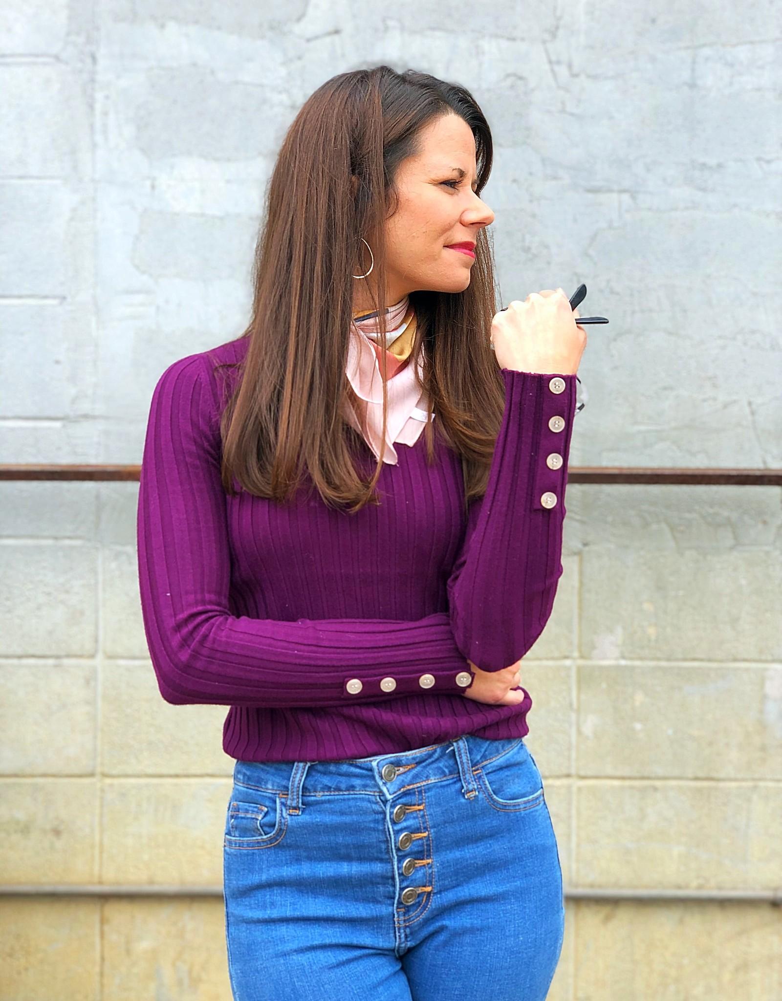 Tea N Rose Button Cuff Sweater - Plum