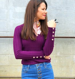 Tea N Rose Button Cuff Sweater - Plum