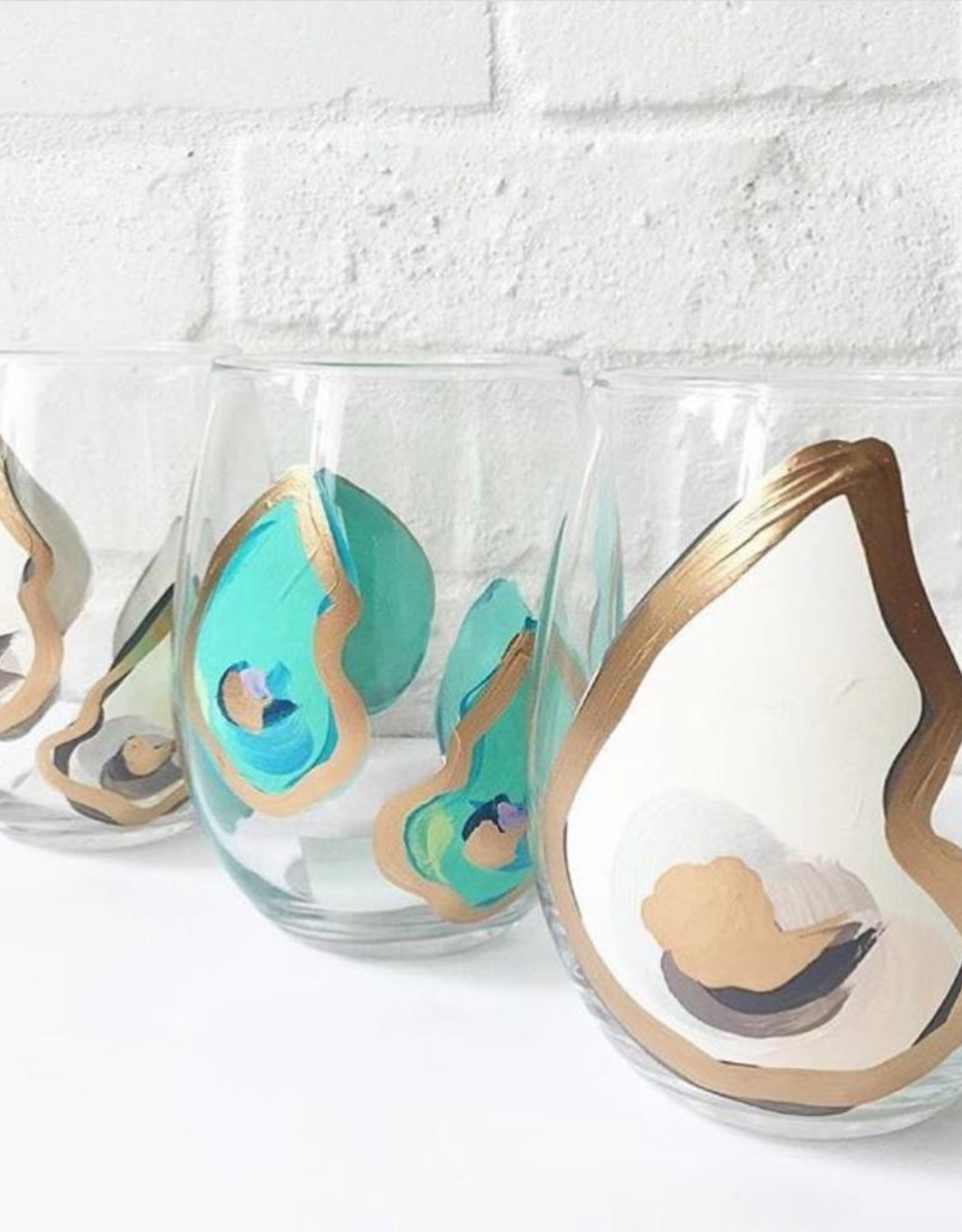 Hand-painted Stemless Wine Glass