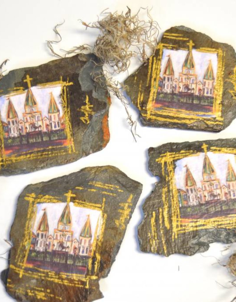 NOLA SLATE New Orleans Roofing Slate Coasters - Jackson Square