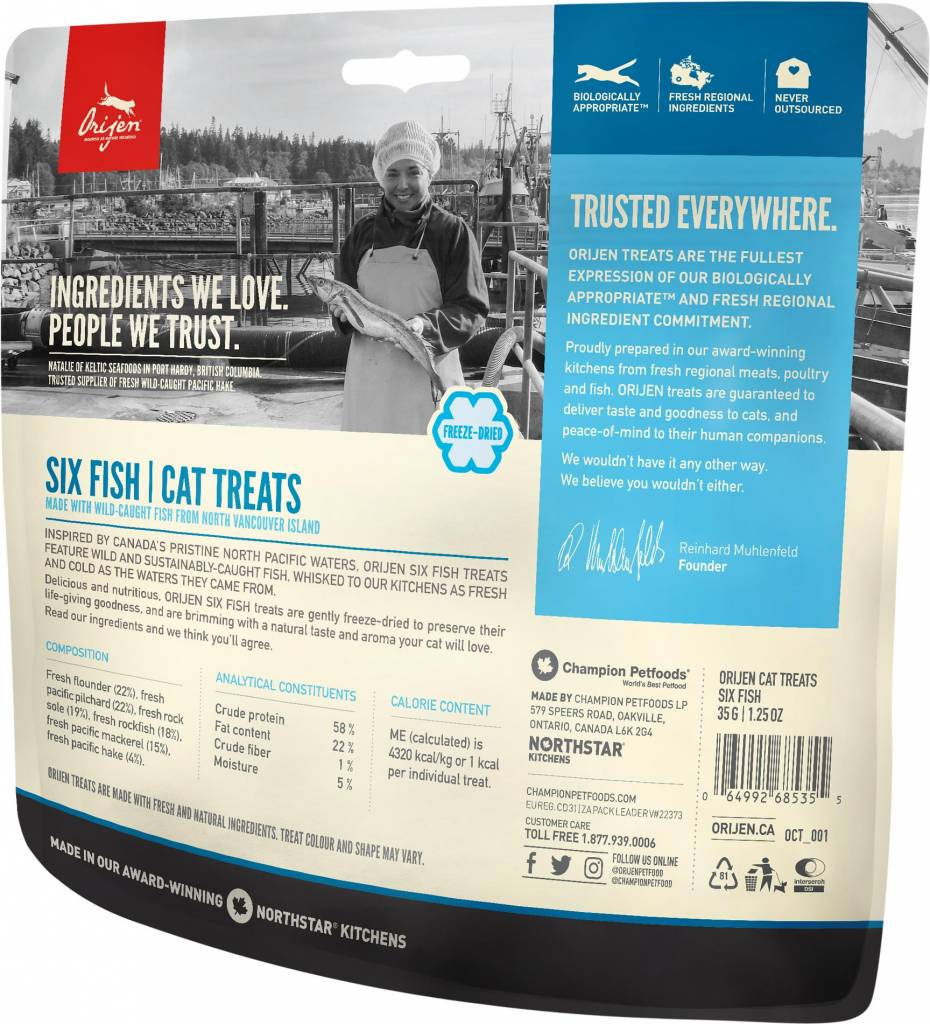 Champion Pet Foods Orijen Freeze Dried Cat Treats 6 Fish
