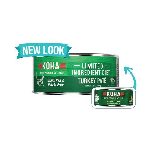 Koha Super Premium Pet Food Koha Cat Food 90% Single Protein - Turkey Pate 5.5oz