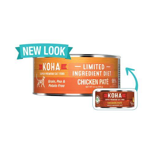 Koha Super Premium Pet Food Koha Cat Food 90% Single Protein - Chicken Pate 5.5oz