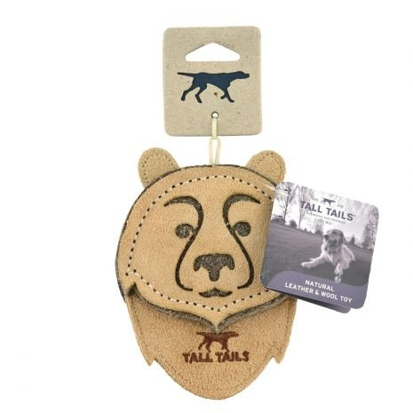 Tall Tails Tall Tails- Natural Leather Dog Toy 4""