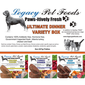 Legacy Pet Foods Legacy-Ultimate Variety 25lb Bulk Case (1/2lb patties)