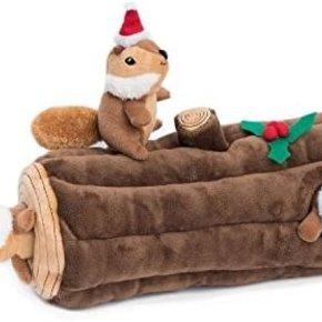 ZippyPaws Holiday Burrow-  Yule Log w/Chipmunks