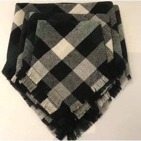 Unleashed Fringe Bandana - Green Plaid