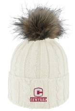 LOGOF LogoFit Ladies Knit Hat Faux Fur Pom Cream