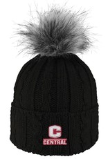 LOGOF LogoFit Ladies Knit Hat Faux Fur Pom Black