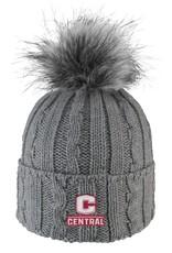 LOGOF LogoFit Ladies Knit Hat Faux Fur Pom Gray