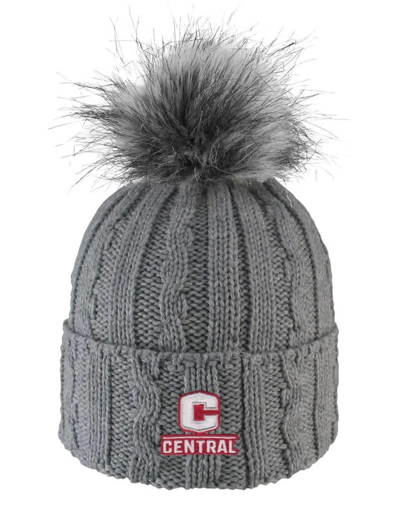 LOGOF LogoFit Ladies Knit Hat Faux Fur Pom Gray