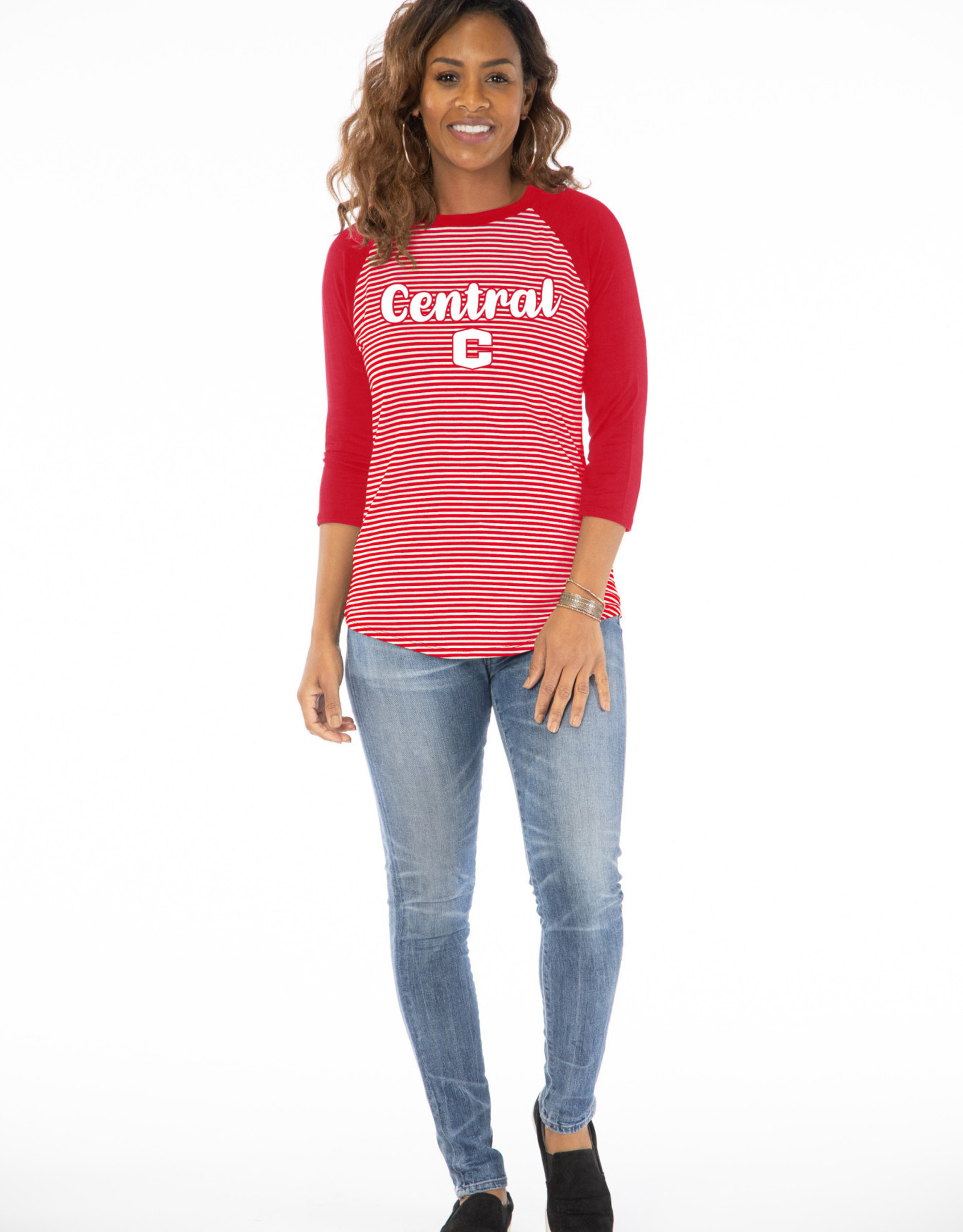Flying Colors Flying Colors Striped Raglan Baseball Red