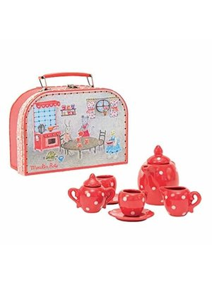 Moulin Roty Moulin Roty Red Ceramic Tea Set