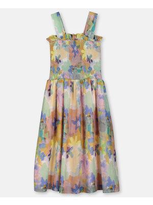 stella Mccartney Painted Flowers Cotton Silk Dress