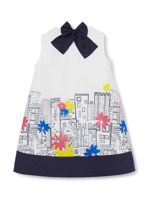 Il Gufo A-LINE DRESS WITH CITY PRINT