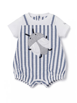 STRIPED ROMPER SUIT WITH BEETLE MOTIF